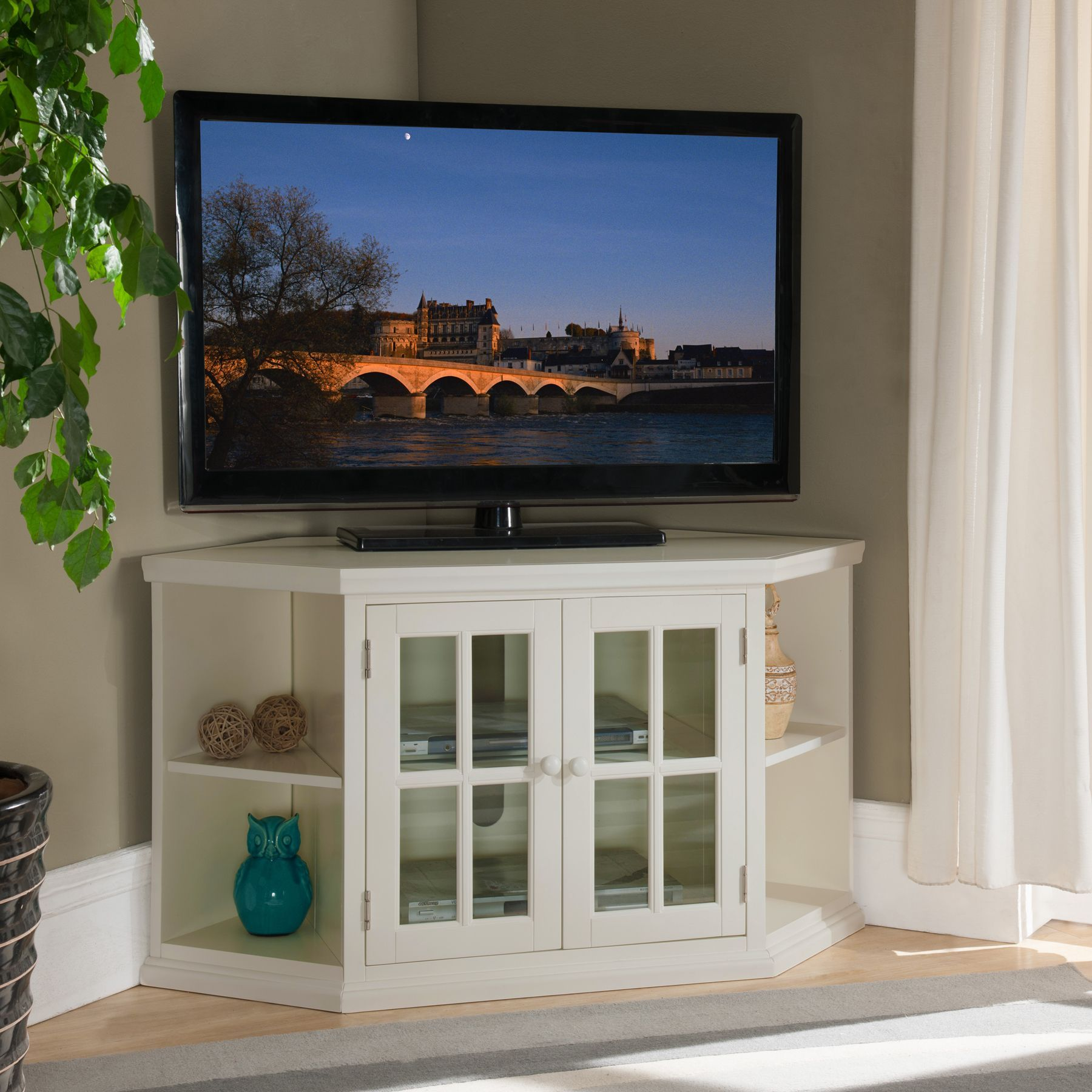 White 46-inch Corner TV Stand with Bookcases | Corner tv stands ...