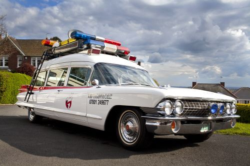 Ghostbusters ECTO 1 Cadillac Ambulance for hire!