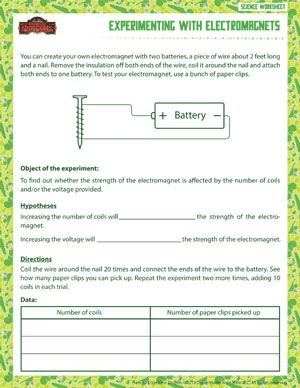 experimenting with electromagnets printable 6th grade science worksheet school age ideas. Black Bedroom Furniture Sets. Home Design Ideas