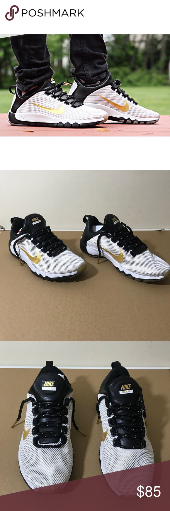 "b625620fdccd Nike free trainer 5.0 LE ""paid in full"" Like new Worn twice Perfect  condition Size 8.5 White metallic gold-black Release date 5 8 14 Nike Shoes  Sneakers"