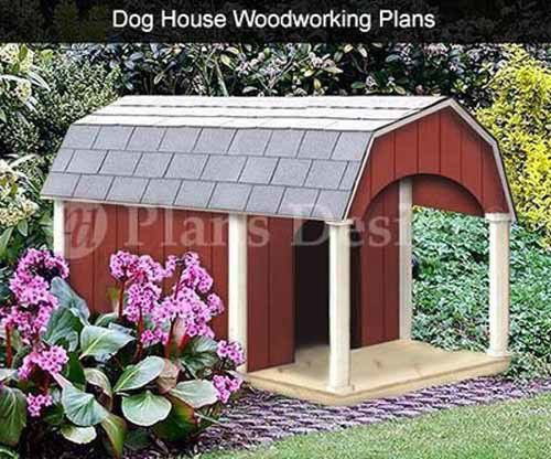 Dog House With Porch Barn Roof Style Plans 90204b Pet Size Up To