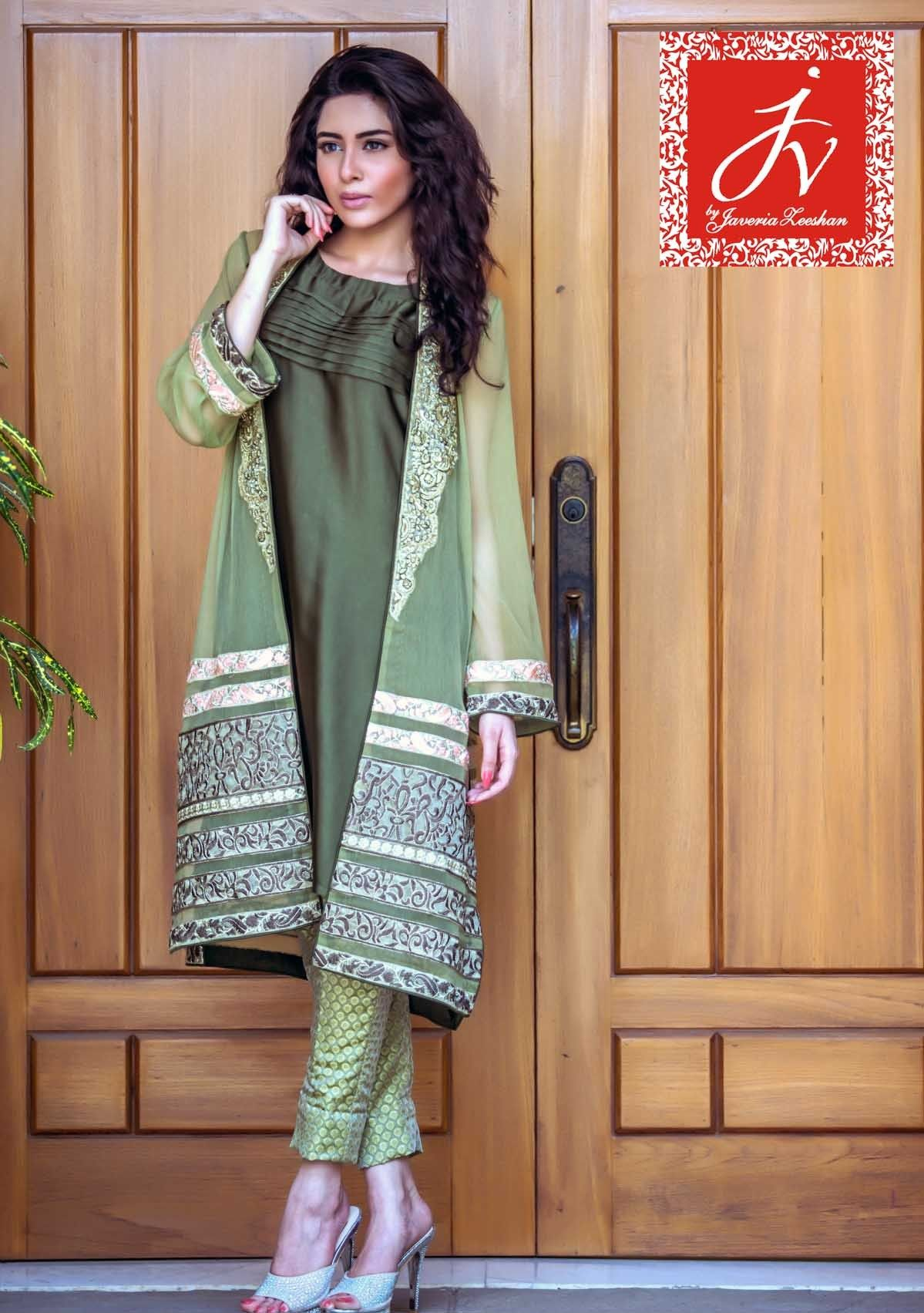 Shirt design with laces - Pakistani Designer Dresses Lowest Prices Mint Green Chiffon Lace Work By Jv Eid Collection