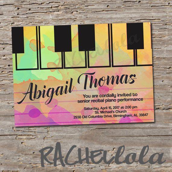 green watercolor recital invitation  piano concert  voice
