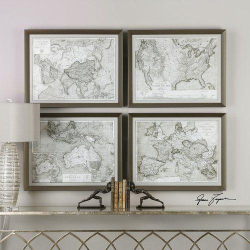 World maps 4 piece framed graphic art set birchlane