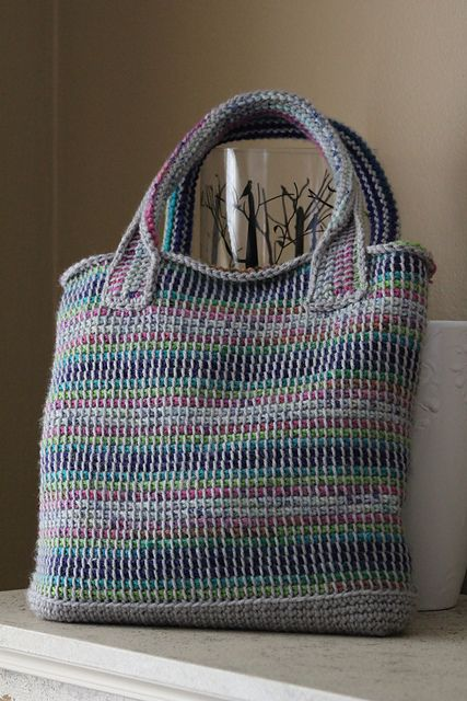 Two Color Tunisian Crochet Tote By Lion Brand Yarn