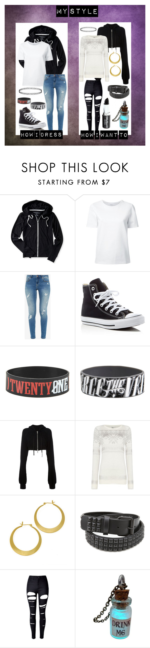 """""""My Style"""" by shadowrune ❤ liked on Polyvore featuring Aéropostale, Lemaire, Ted Baker, Converse, Unravel and WithChic"""