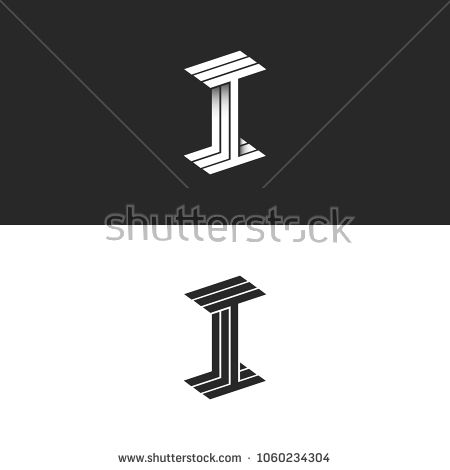 Letter I Logo Isometric Symbol Modern Monogram Black And White