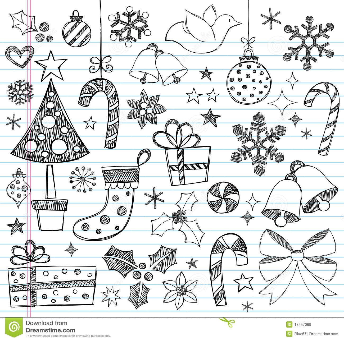 Christmas Hand-Drawn Sketchy Doodles Stock Vector - Illustration of notebook, graphic: 17257069