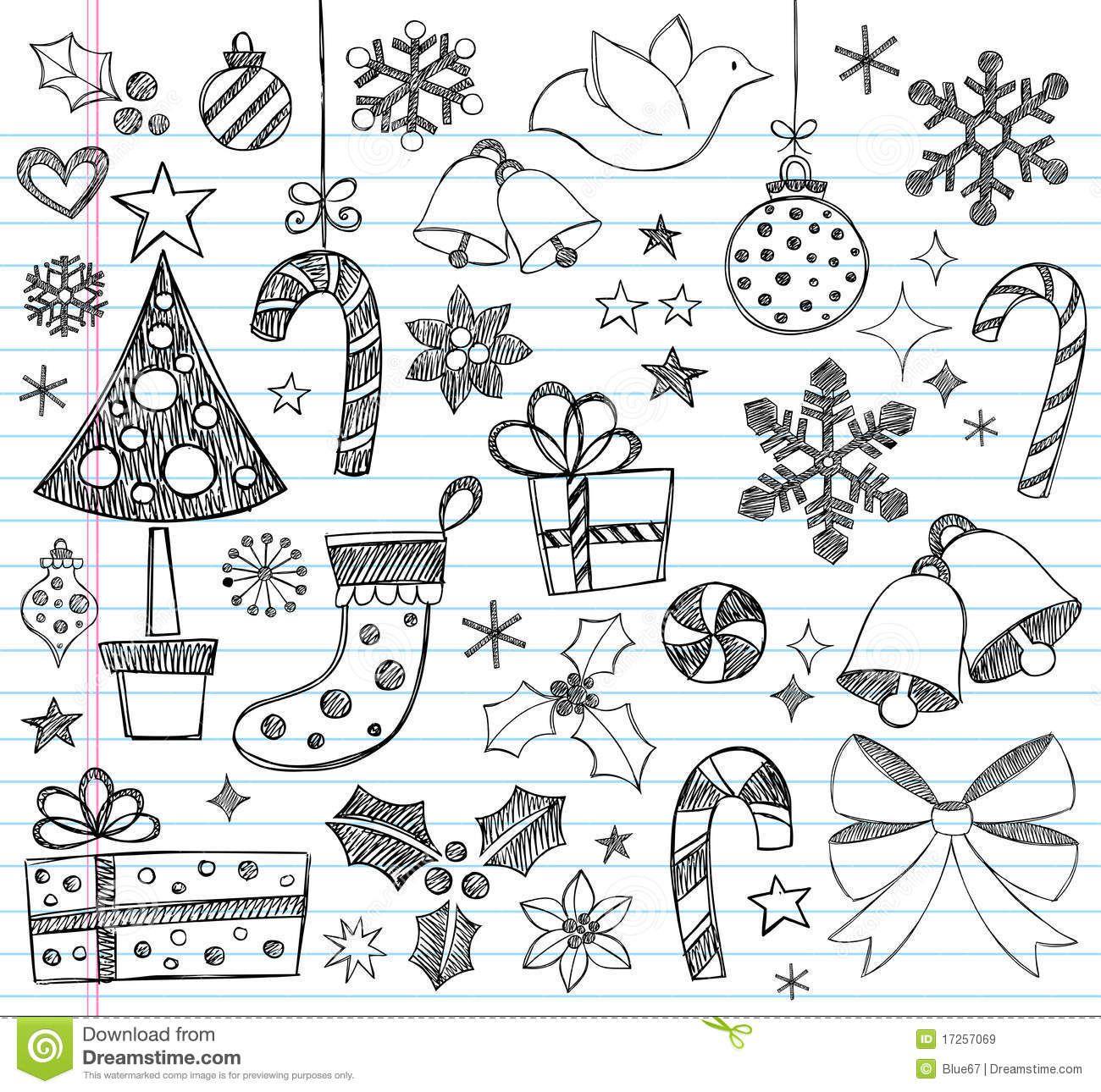 Christmas Hand Drawn Sketchy Doodles
