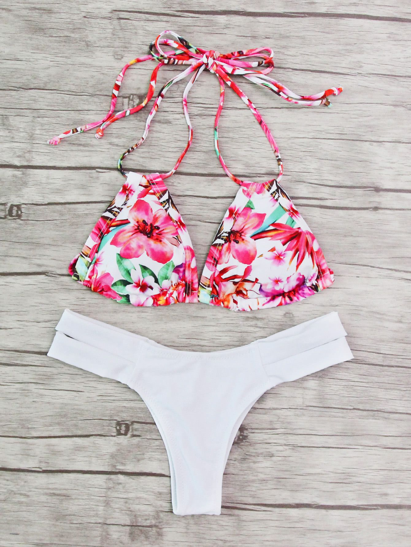 62977f52b1 Shop Calico Print Mix & Match Halter Bikini Set online. SheIn offers Calico  Print Mix & Match Halter Bikini Set & more to fit your fashionable needs.