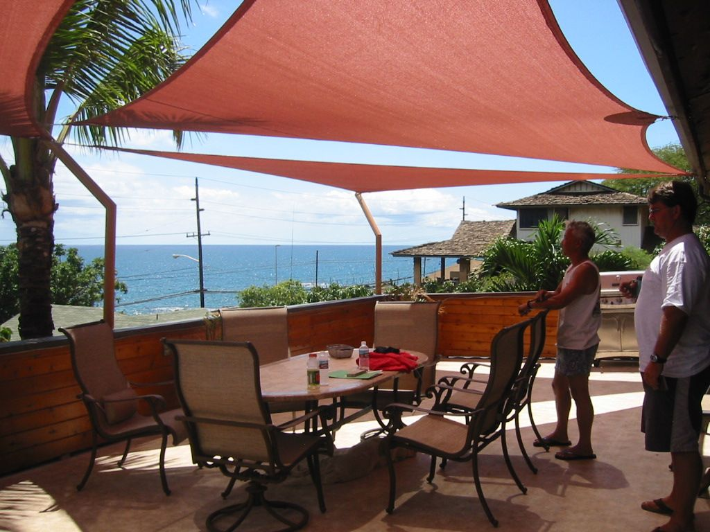 Image Of Awesome Shade Sail Patio Covers With Wooden Deck Privacy Railing And Stainless Steel Outdoor