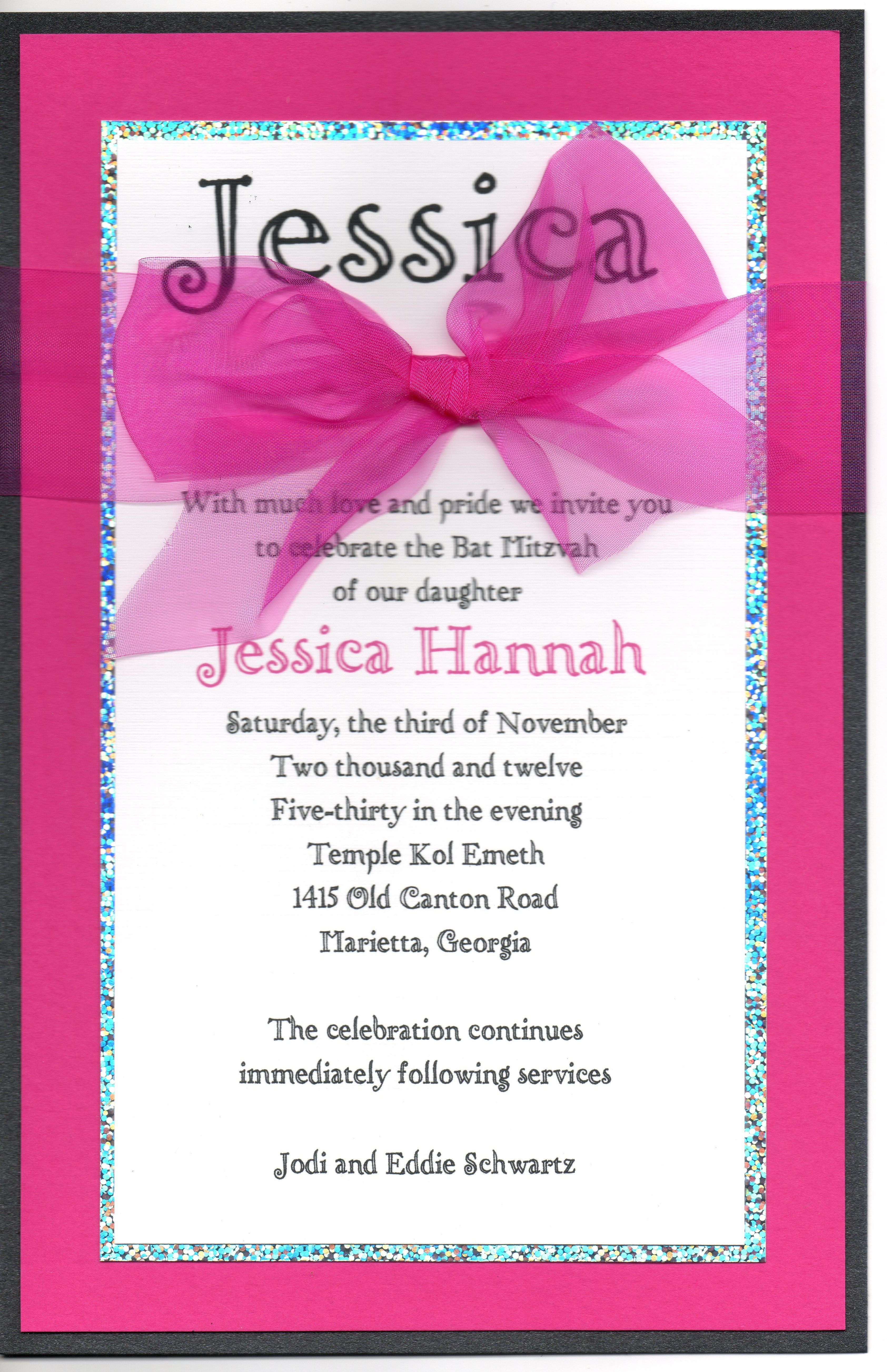 Hot Pink and Silver Bat Mitzvah Invitation | Bar & Bat Mitzvah ...