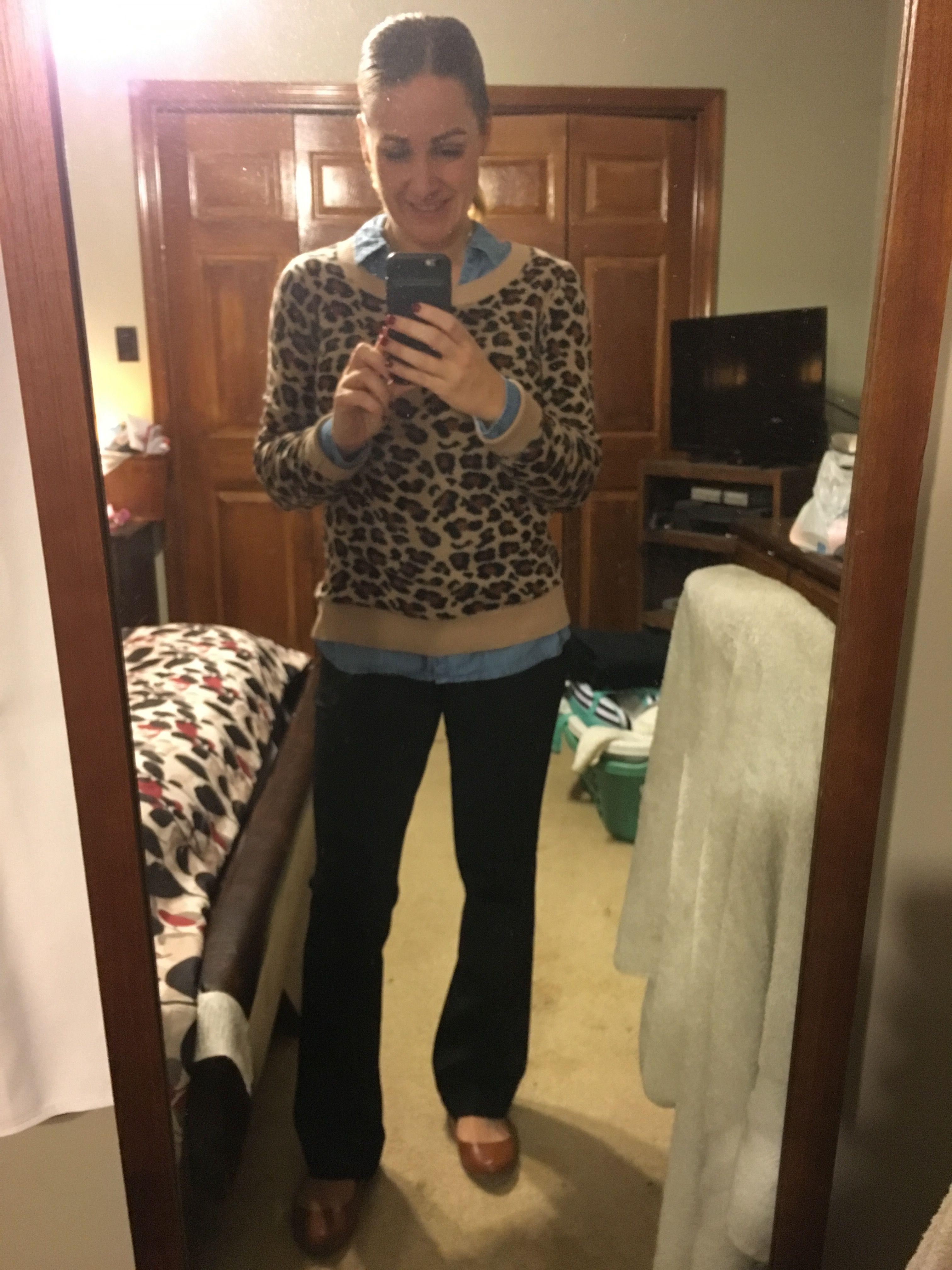 e916018cb9e6 Express Leopard print sweater, chambray Old Navy Classic shirt, black  Express Columnist pants, cognac flats & belt
