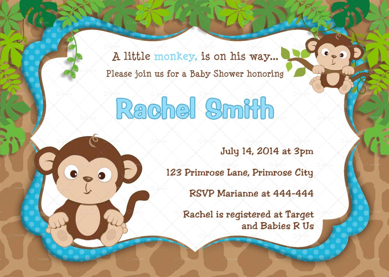 monkey baby shower templates for mac pages - Google Search | baby ...