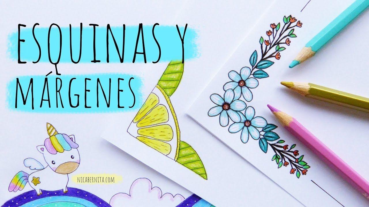 Dibujos Para Esquinas De Hojas: ESQUINAS Y MÁRGENES PARA CUADERNOS (3) 💜💚💛CÓMO DIBUJAR UN