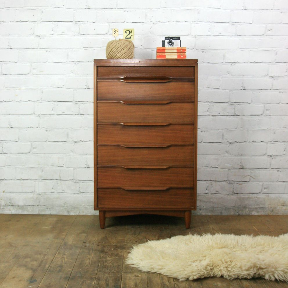 Vintage Mid Century Afromosia White Newton Tallboy Chest Of Drawers 50s 60s