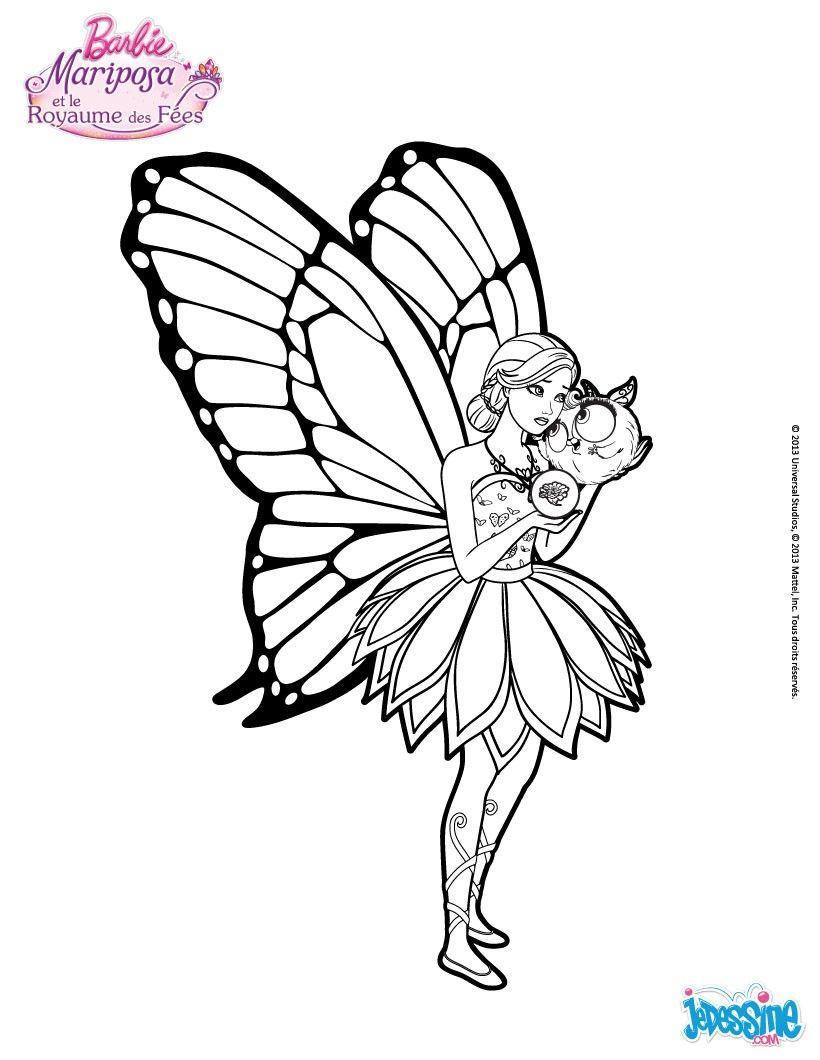 Un joli coloriage de barbie mariposa avec son fid le compagnon viens colorier sa jolie robe et - Barbi coloriage ...