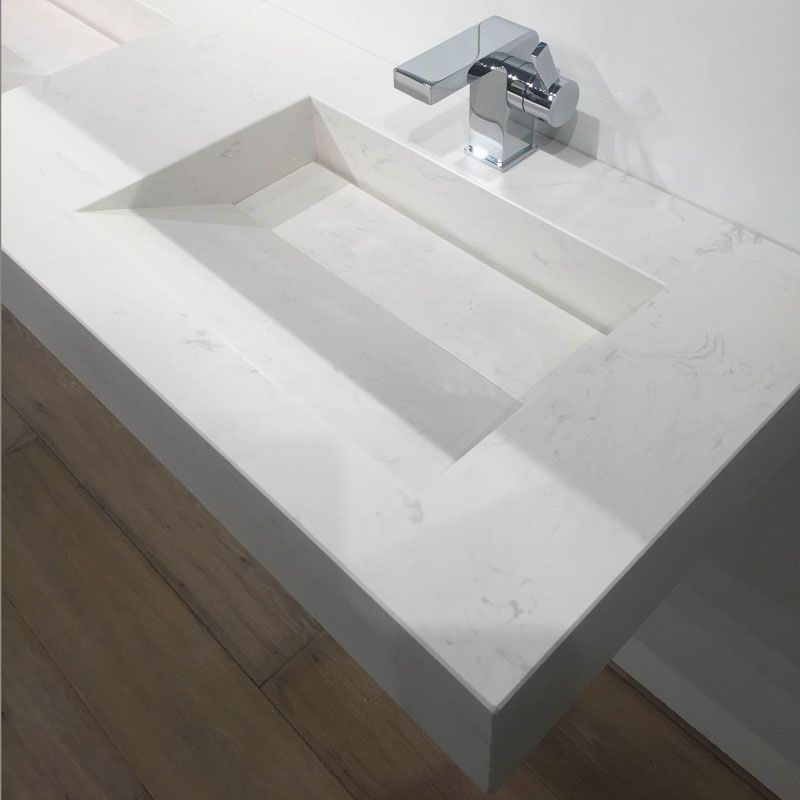 Pierre Calacatta, plan double vasque salle de bain suspendu ...