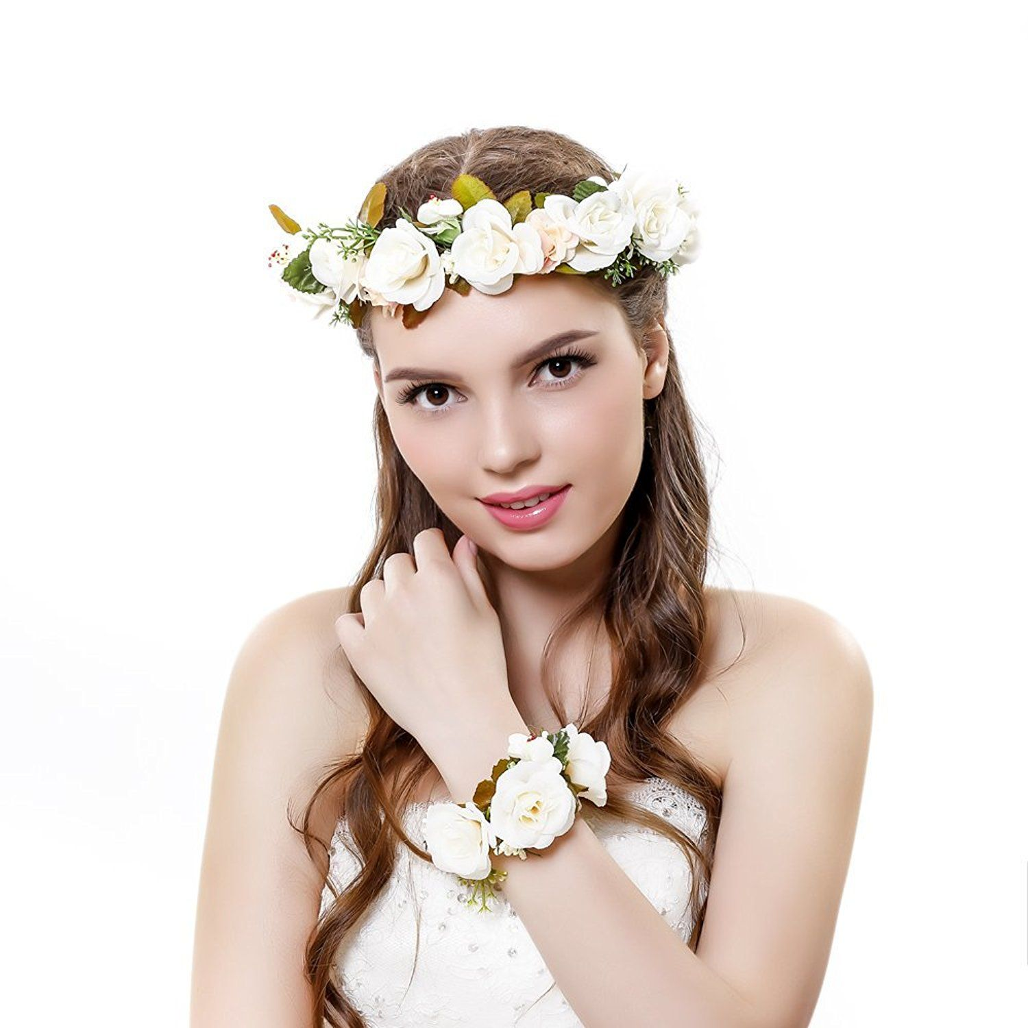 2pcsset flower crown wedding hair wreath floral headband garland 2pcsset flower crown wedding hair wreath floral headband garland wrist band check out the image by visiting the link this is an affiliate link and i izmirmasajfo