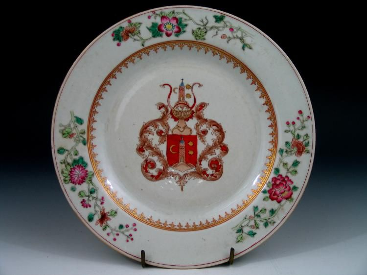 Chinese Export Plate with Continental (possibly Spanish?) armorial- Qianlong period, mid 18th century