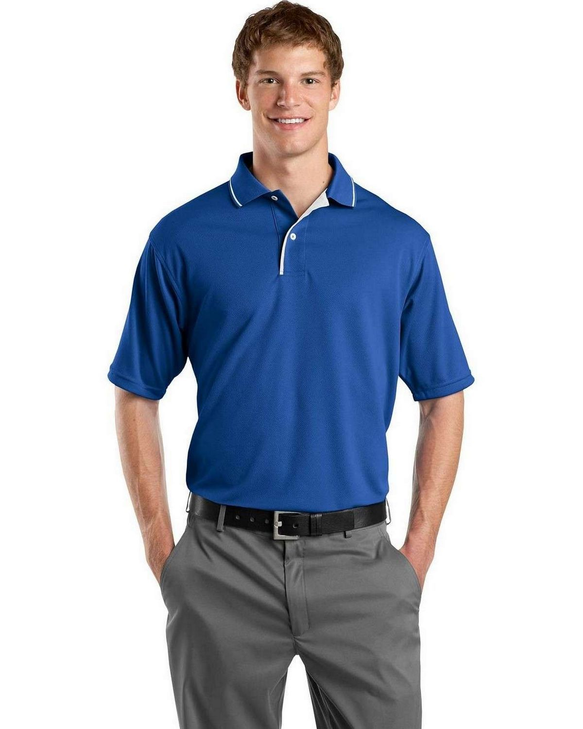 07138dc2c Sport-Tek K467 Dri-Mesh Polo with Tipped Collar and Piping   New ...