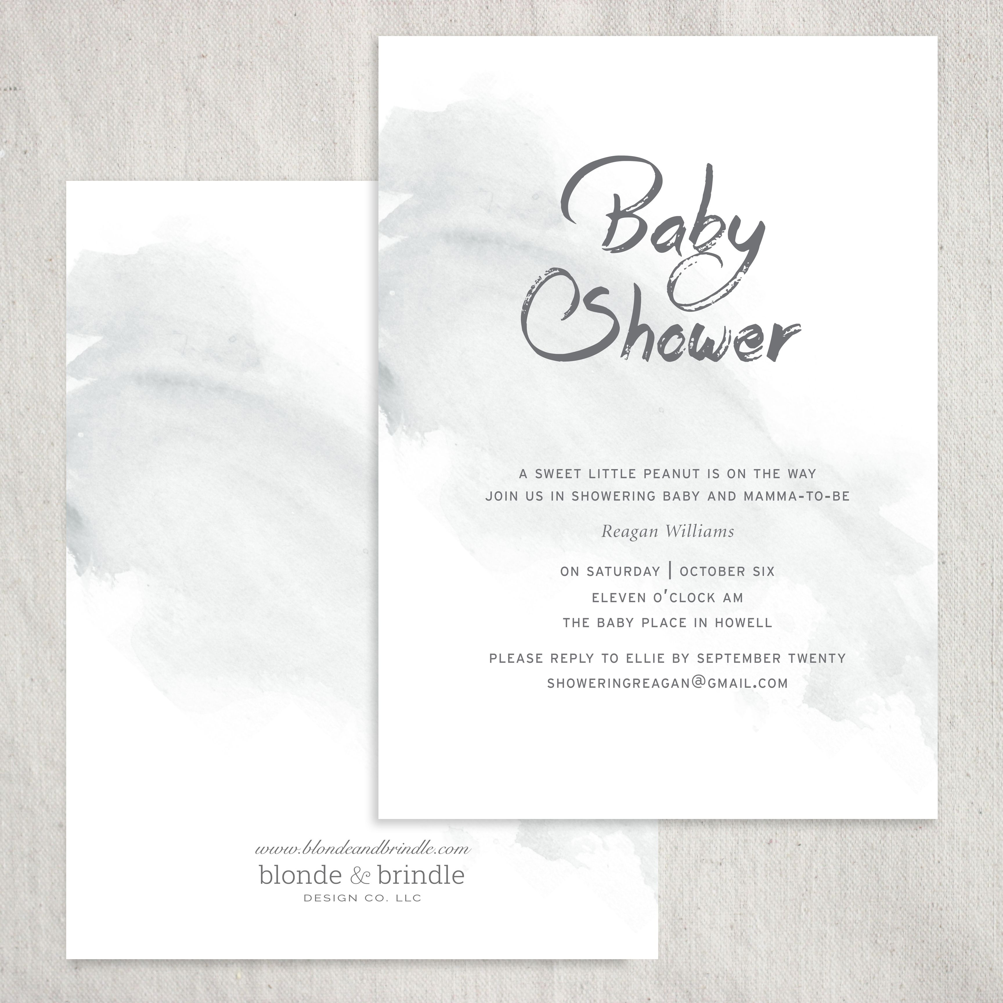 Gender neutral baby shower invitation. Featuring watercolor and ...