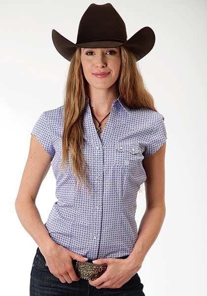 Ladies Cap Sleeve Western Shirt Snap