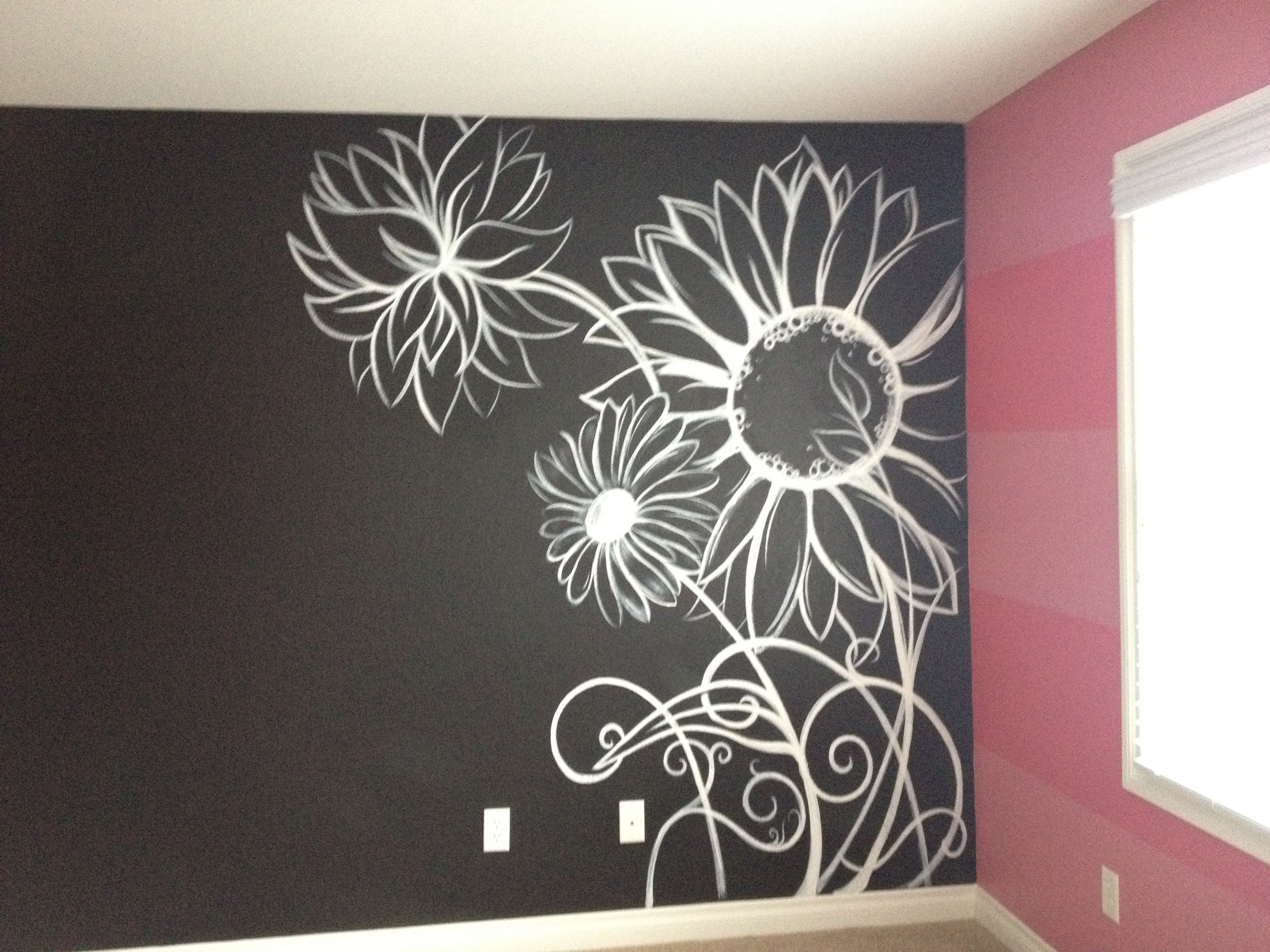 3 Striped Walls One Black Accent Wall With A Flower Mural Wall Painting Flowers Chalkboard Wall Art Mandala Wall Art