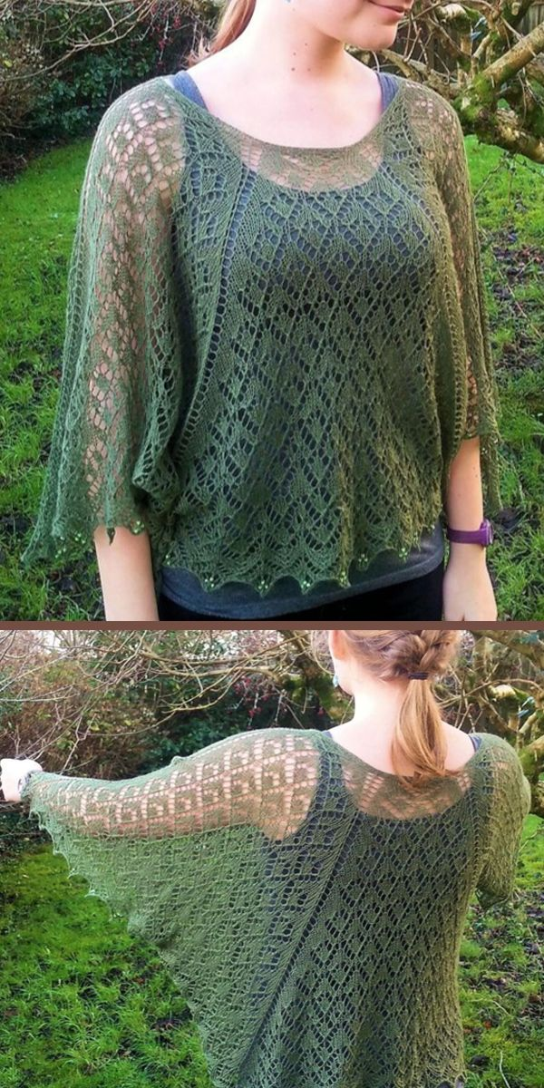 Photo of Knitting Pattern for Lavinia  Lace Poncho