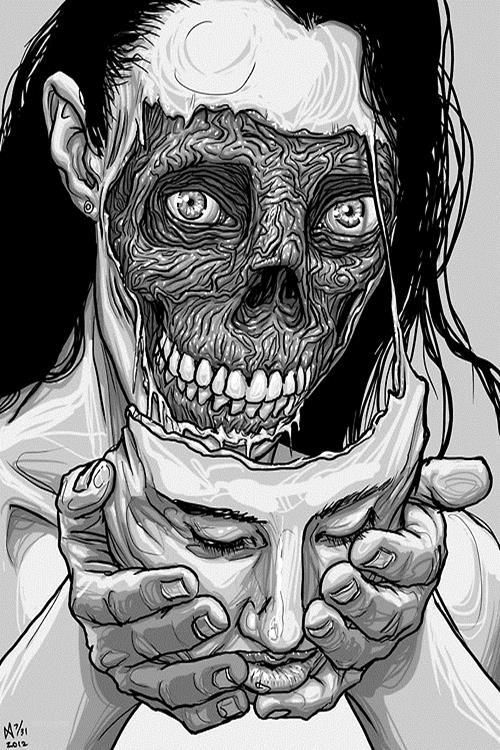 Imagem de face, black and white, and drawing