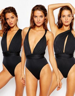 435fd73f4d ASOS Multiway Swimsuit Black One Piece  53 Swimsuit by ASOS Collection  Plain swim fabric Plunge neckline Non-padded cups Two long straps Multiway  design ...