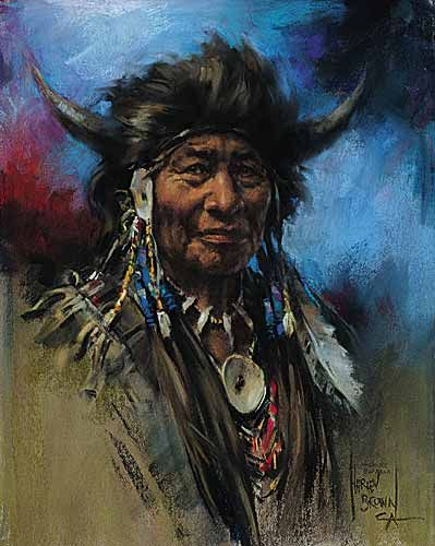 portrait of Walking Buffalo, a prominent Nakoda First Nation Chief by Harley Brown