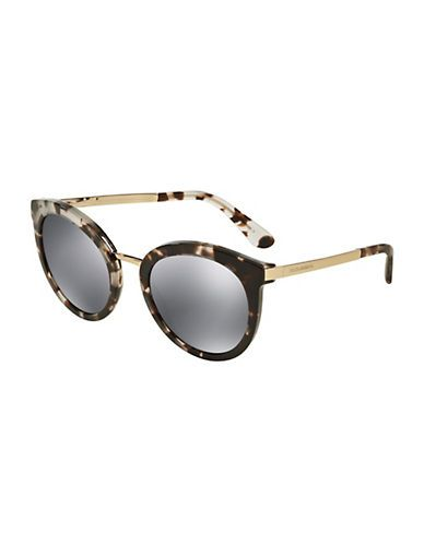 4e194cb123aa Dolce   Gabbana 52mm Round Acetate and Metal Sunglasses Women s Tortoi