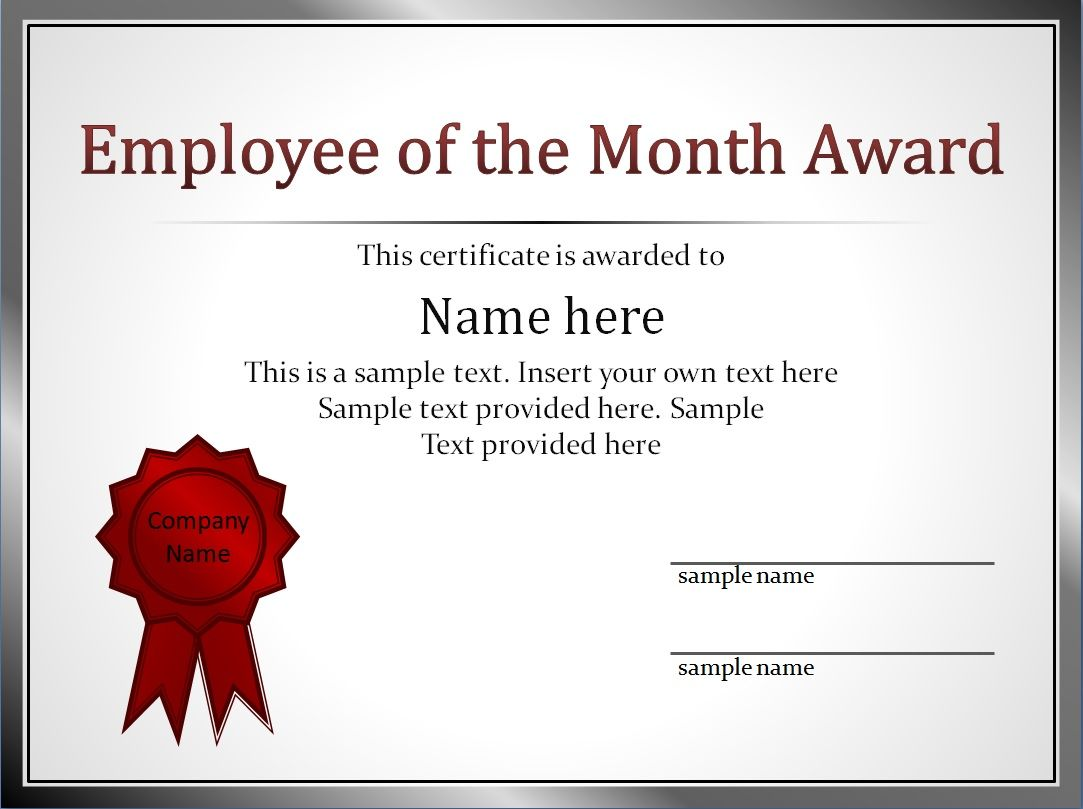 Impressive employee of the month award and certificate template with impressive employee of the month award and certificate template with editable name and silver frame list yadclub Gallery