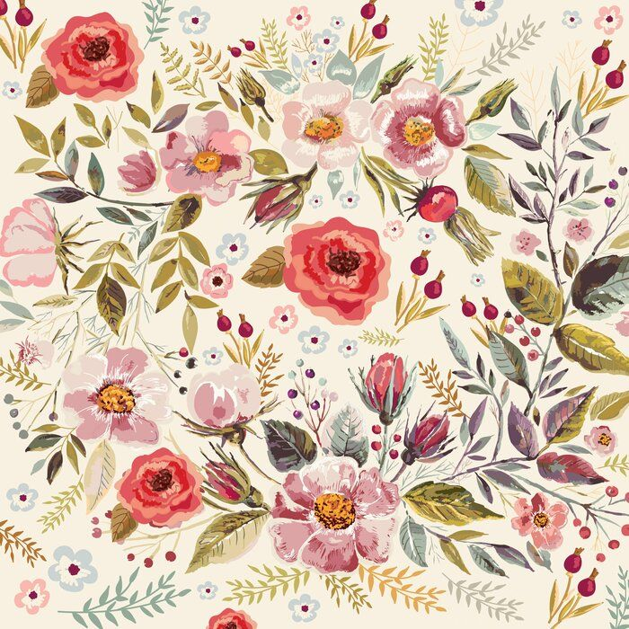 "Kershner Removable Vintage Berries Flowers 4.17' L x 50"" W"