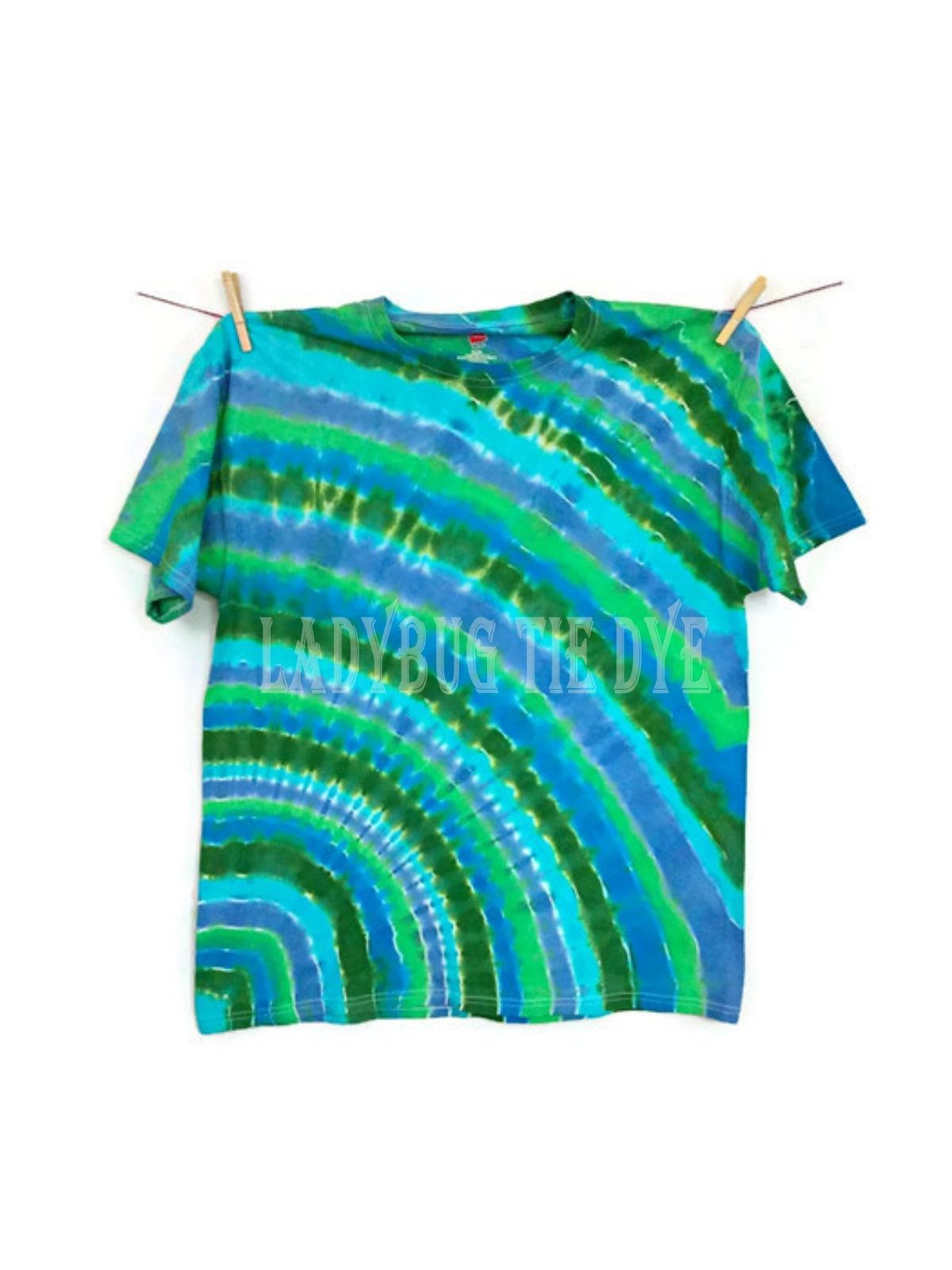 fa023db281a Blue Green Tie Dye Shirt Unisex Tie Dye Gift For Men Adult Large Fathers  Day Shirt Hippie Shirt Tie Dyed Clothing Boho Fashion Festival Tee by  LadybugTieDye ...