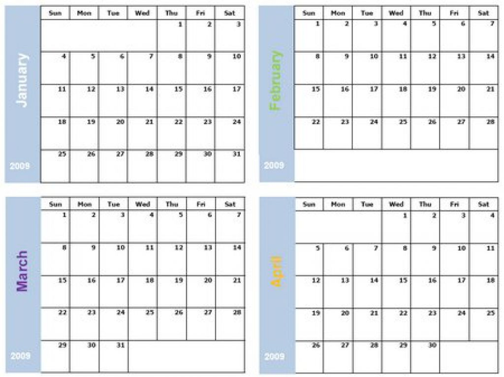 printable 4 month calendar 2018 printable pages News to Go