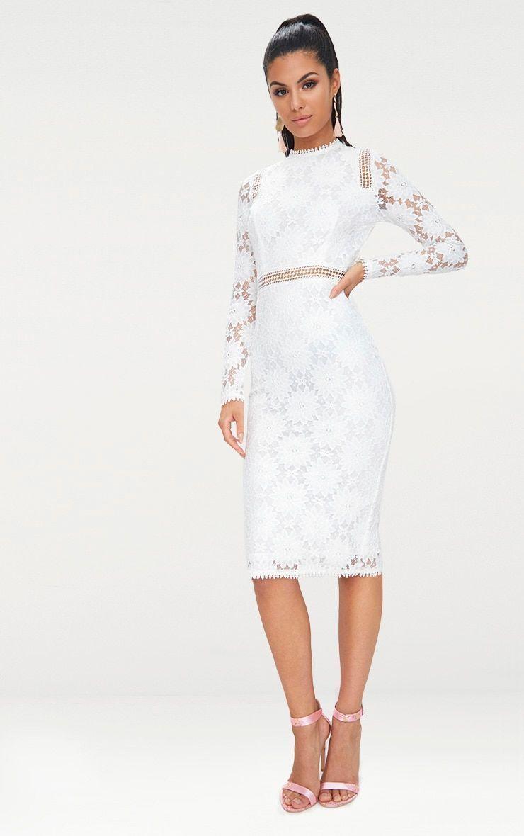 Caris white long sleeve lace bodycon dress