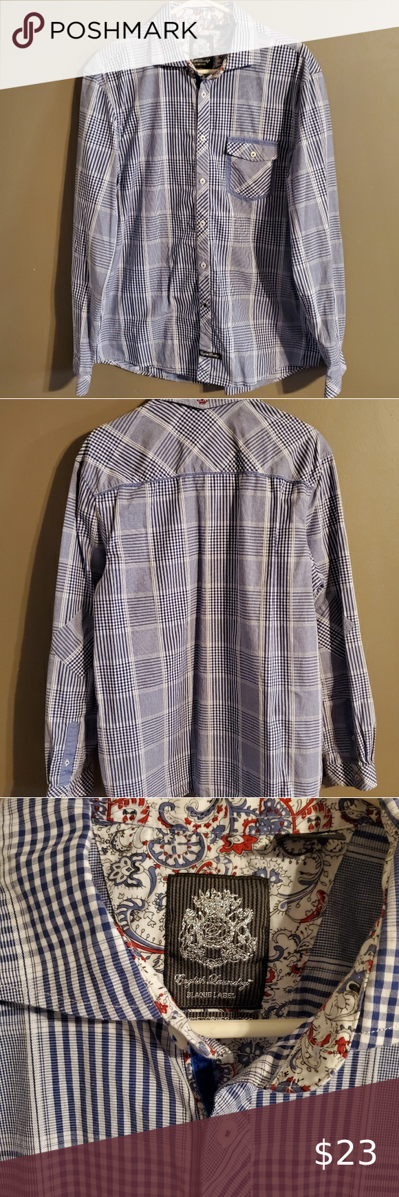 English Laundry Blaque Label Button Up Patterned Button Up Shirts Shirt Dress Casual Laundry Shirts [ 1740 x 580 Pixel ]