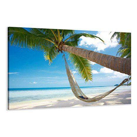 120 x 80 cm Bild auf Leinwand Strand Palme - Bilder Strand Meer
