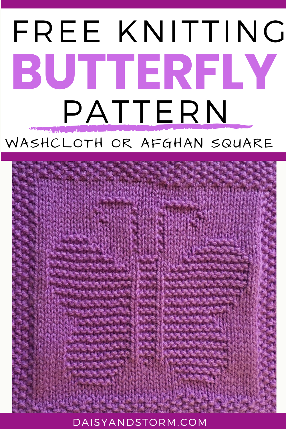 Free knitting pattern butterfly washcloth afghan square in ...