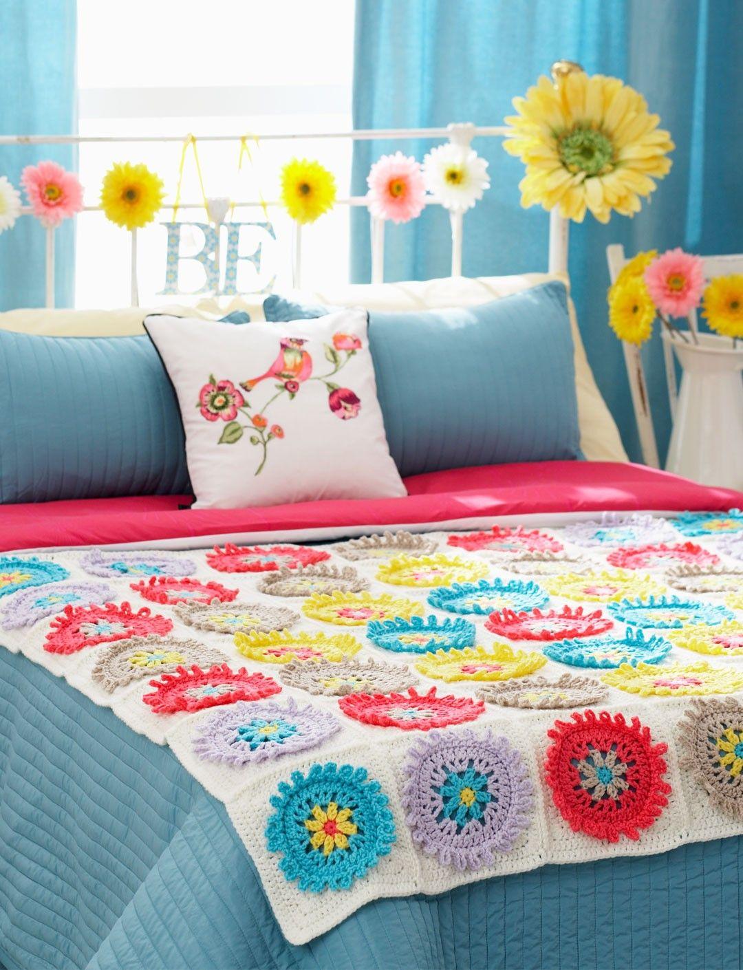 Yarnspirations.com - Bernat Colorful Cogs Afghan Pillow - Free ...