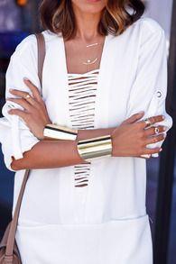 White Long Sleeve Pockets Dress -SheIn(Sheinside)