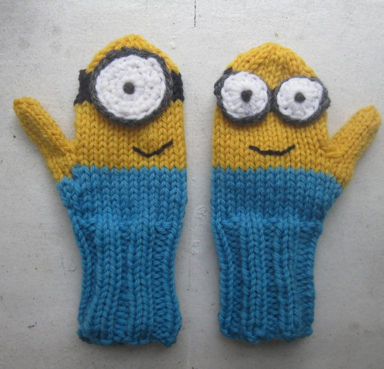 Free Knitting Pattern For Minion Mittens Knitting Pinterest