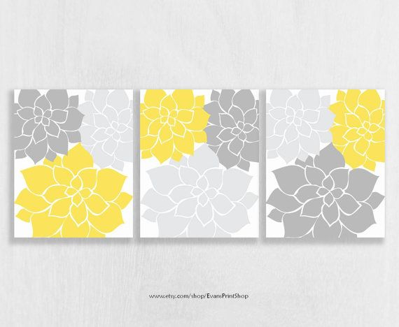 Nursery Wall Art Print Set of 3 - Yellow and Gray Nursery - Flower ...