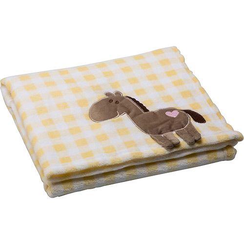 Cobertor para Bebê Xadrez Amarelo Girafa - First Steps