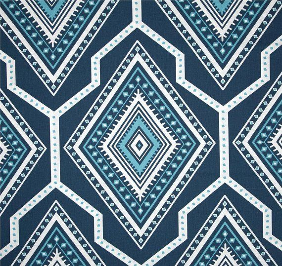 Navy Blue Aztec Fabric By The Yard Designer Cotton Drapery Curtain