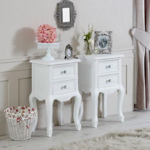2 drawers /& crystal knobs Gainsborough white bedside table cabinet ASSEMBLED