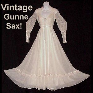 vintage gunne sax gown lace up cinch corset lace sleeves