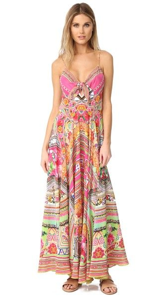 be13571949f6 Camilla Hani Honey Long Dress With Tie Front Camilla Long, Womens Cocktail  Dresses, Diane
